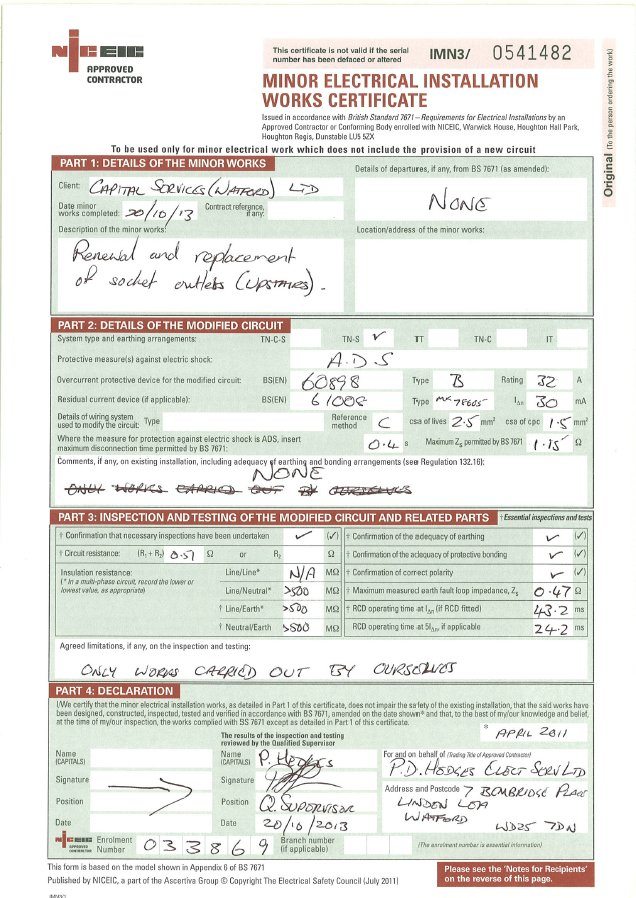 Electrical installation test certificate template for Electrical minor works certificate template